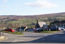 view of the centre of the village of reeth in north yorkshire